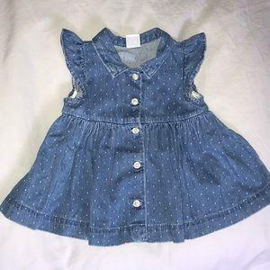 Baby Gap Denim Polka Dot Dress